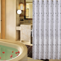 Luxury polyester fabric home & hotel use silvery printing hookless shower curtain