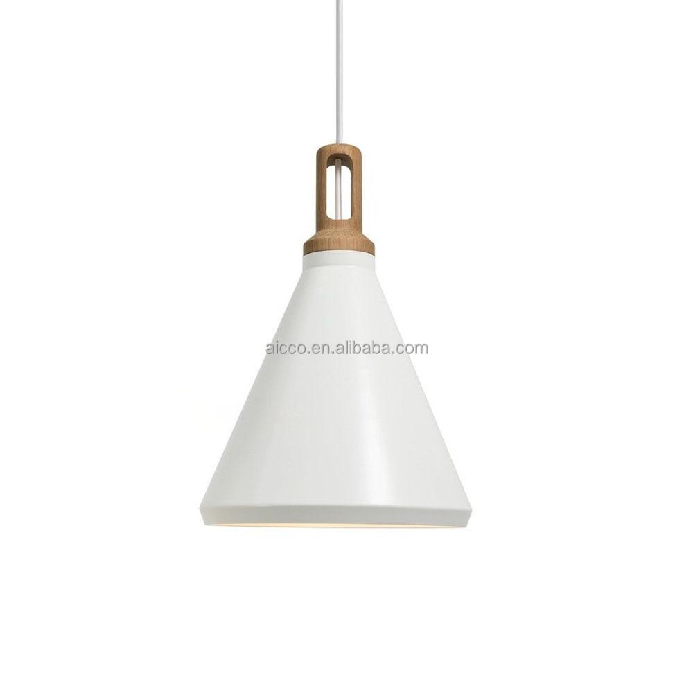 Cafe Lighting Chilli Metal Pendant : Modern pendant light with wooden lighting