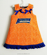 wholesale kids summer clothes orange polka dots cotton baby girl sport dress