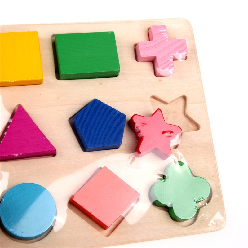Wooden Toys Learning Geometry Educational Toys Puzzle Montessori Early Learning Intellectual Kids Baby