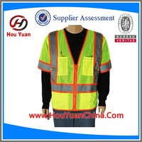 CE EN20471 and ANSI Yellow Reflective Biker Vest, 120G knitted and Zip Fasten, Popular for motorcycle,biker, Driver,Runner