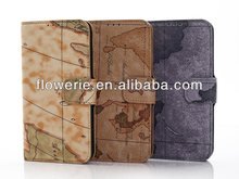 FL2302 hot-selling world map wallet leather case pouch fit for samsung galaxy s5 i9600