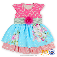 Latest Fashion Pink Flower Dresses Adorable Fancy Dress pictures Frock Design Boutique Dress For Baby Girl