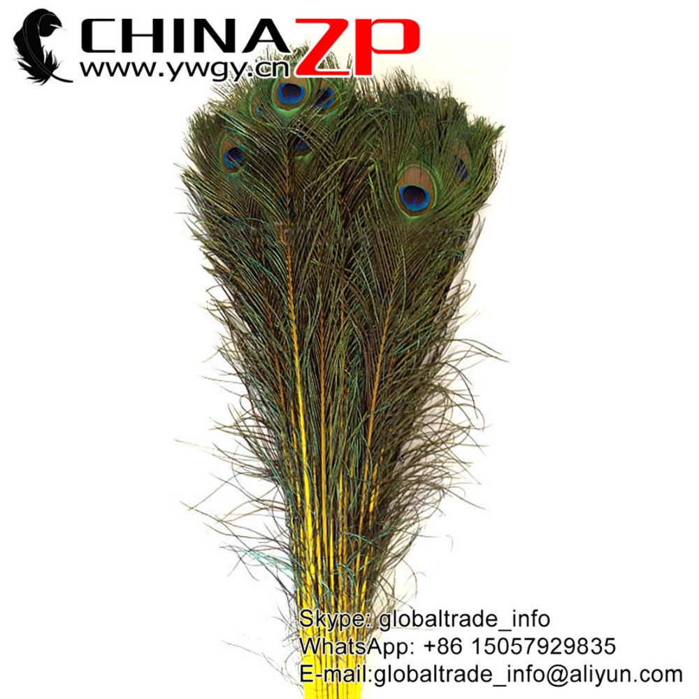 CHINAZP Crafts Factory Wholesale Cheap Full Eye Natural Colored Yellow Peacock Feathers for Parties