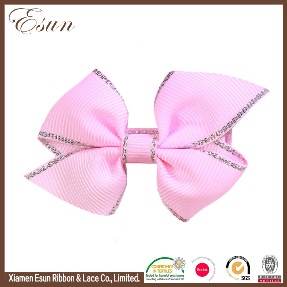 Silver border girls accessories pink knot diy hair bow with tip clips