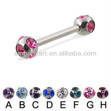 Fashion CZ gem ball straight barbell piercing tongue ring-TR022601