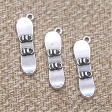 Skateboard Snow Board charms Antique silver tone sport Skate board charm pendant 3x11x35mm
