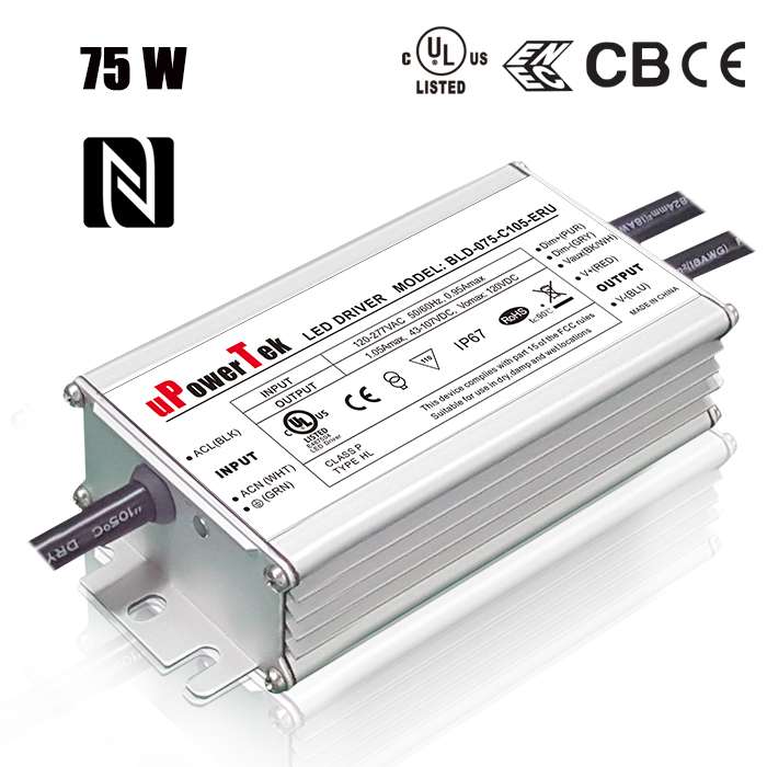 75 W NFC Programmable UL certified constant current output 0-10V PWM timer dimmable LED power supply with dim to off function