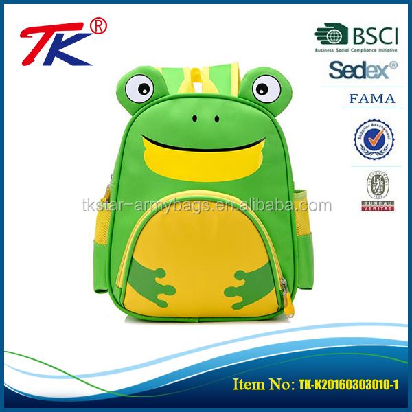 High quality cute animal kids backpack personalized frog shape toddler backpacks