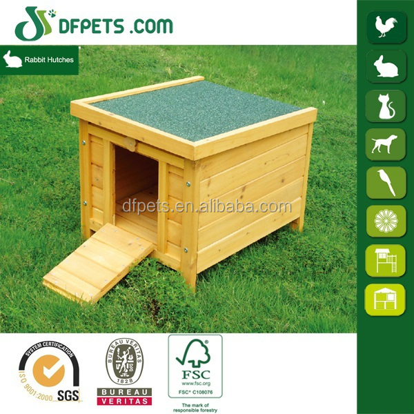 Small wood rabbit hutch bunny cage with metal enclosure