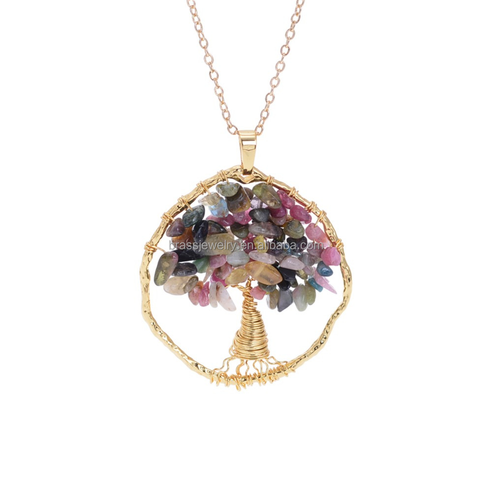 Colorful Aventurine Stone Eternal Tree of Life 18K Gold Plated Brass Necklace