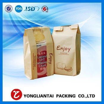 FDA food grade ziplock stand up kraft paper bag with window