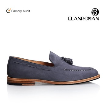 Mens tassel leather shoes slip-on genuine leather sole loafers man dress shoe