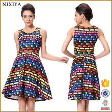 Women V Neck Sleeveless Waved Printed Rainbow printed Colorful Dress