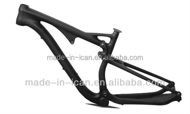 ICANbikes free shipping 29er carbon full suspension bicycle frame 15.5inch bsa 142*12mm thru axle