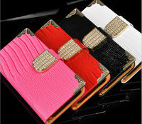 New Arrival Bling Diamond Flip Leather Wallet Design Mobile Phone Case For iPhone 6