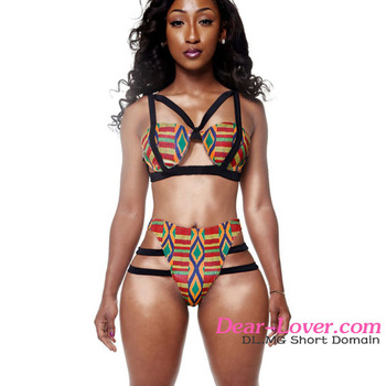 Two Piece African Print Open Hot Sex Girl Full Photo 2016 Bathing Suit