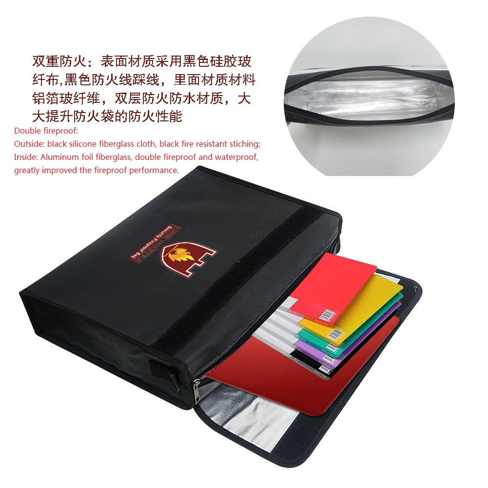 Fireproof and Waterproof Money Documents Bag Fire safe Storage Bag