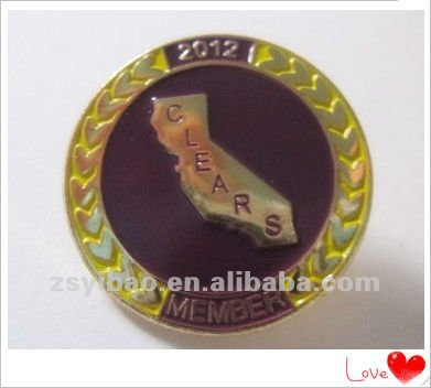 2015 Military gold badge clears member with butterfly cluth metal badge lapel pin no minimum order