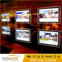 Fashionable crystal LED light box picture frames backlit ceiling window display pocket slim light box