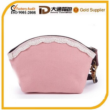 Pink Trendy Basics Canvas Cosmetic Bag for Girls