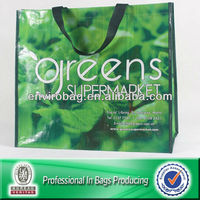 Green PP woven supermarket shopping bags