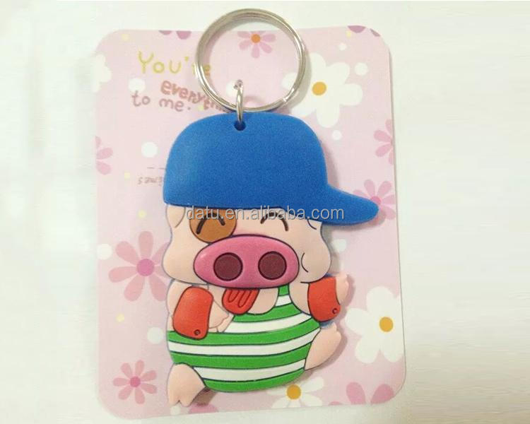 cheap pig soft rubber keychain