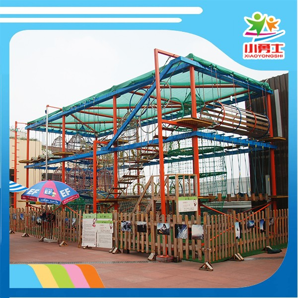 Double Track Galvanized Pipe Indoor Wood Adventure Challenge Rope Course Playground