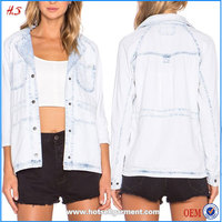 Latest Fashion Design Women Light Blue Denim Jacket
