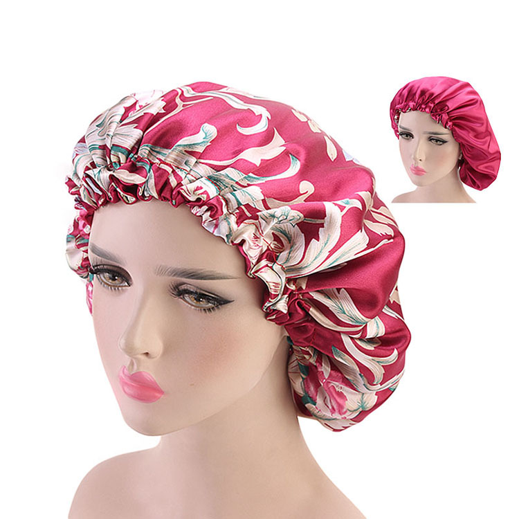 High Quality Women Shower Caps Satin Hair Bonnet Waterproof Layers For Spa Shower Hair Mask Cap