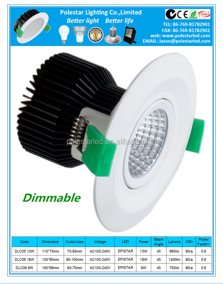 100mm 9w LED COB Downlight with spring clips for recessed lighting