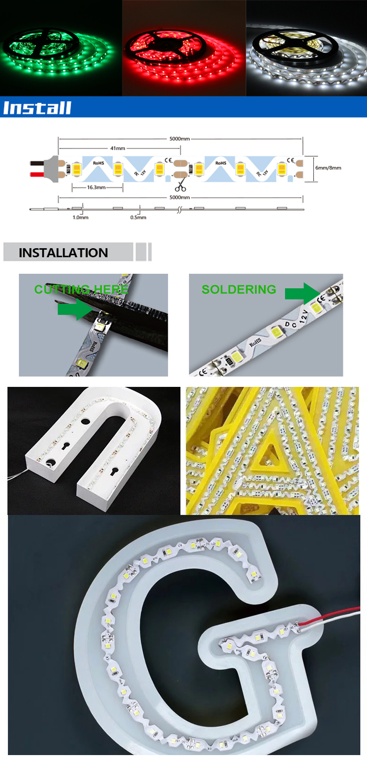 foldable S shape 12w/m nonwaterproof led strip S type 2835 led strip