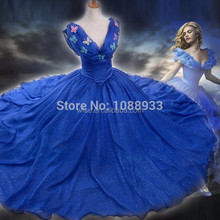 Customized 2016 cinderella adulto costumi donne di età cosplay del partito blu cenerentola prom dress con halloween abiti da cenerentola