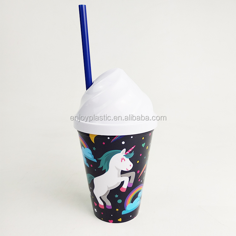 BPA Free Reusable Customized Fancy Ice cream lid Cheap printing plastic straw cup