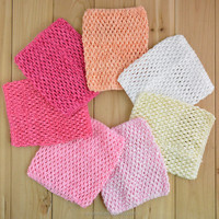 Hot selling children 6 inches crochet headband baby cotton wrap headbands tutu tops