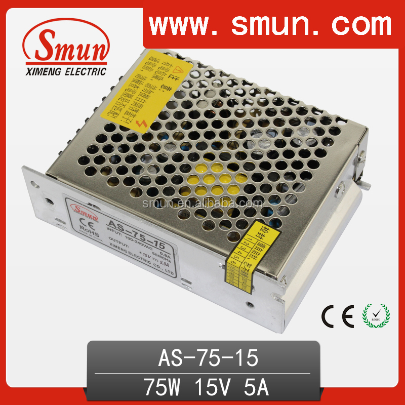75W 15VDC 5A AC/DC Switching Power Supply Small Size with CE RoHS 2 Years Warranty