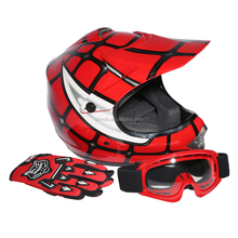 Youth Red Spider Net For Dirt Bike Motocross Off-Road Helmet MX Goggles+Gloves S M L