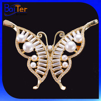 Yellow Gold Plated Crystal Butterfly Wing Brooch/Fresh Water Pearl Copper Butterfly Brooch