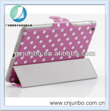 free shipping via china post air mail Twe Fold Polka dot case for ipad