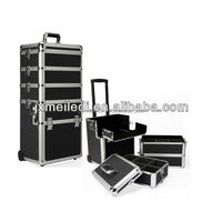 professional aluminum black makeup lugguage cosmetic case with trolley
