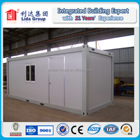 20ft EPS sandwich panel container house for dormitory, low cost prefabricated container hotel design