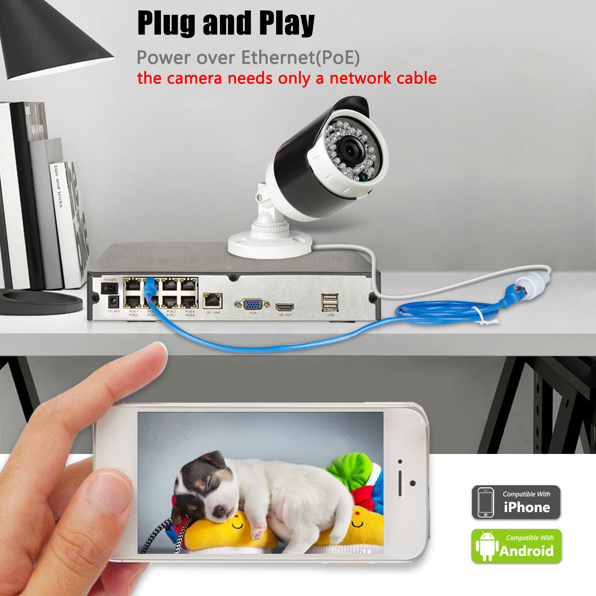 ANRAN 8 POE camera nvr with monitor indoor 8 channel 1080P security cctv camera system 2TB HDD