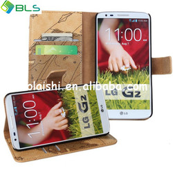 World map style pu leather flip case cover for lg g2
