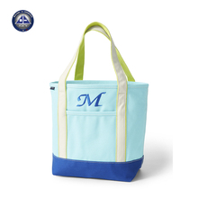 Two-Tone Zip Top Canvas Tote Bag Beach Tote Canvas Bag