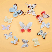 Wholesale Wedding Decoration 3 D PVC Fridge Magnet 12cm Plastic Artificial Realistic Simulated Double Layer Wings Butterfly