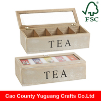 Custom Made Antique Wooden Tea Compartment Box with hinged lid