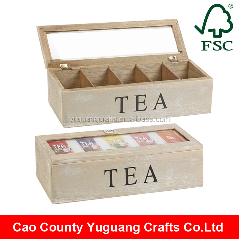 Custom Made Antique Wooden Tea Gift Packaging Box with hinged lid