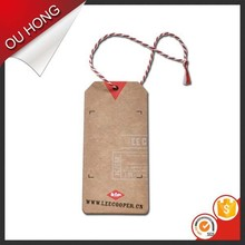 China Craft Brown Paper Jeans Hangtag Custom Printing Swing Tag Hang Tags for Clothing
