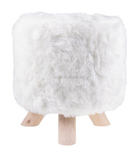 Premium Faux Fur White Foot Rest stool, Ottoman