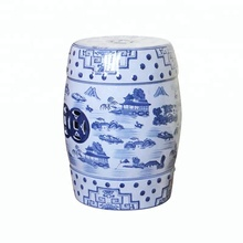 Wholesale antique blue and white Chinese Ceramic Side Table Garden drum Stool for hotel office home decoration